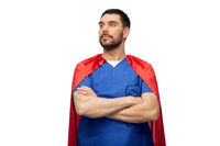 doctor or male nurse in superhero cape
