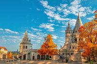 Budapest Hungary, city skyline at Fisherman's Bastion with autumn foliage season