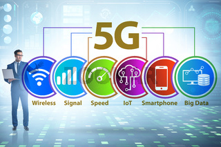 Concept of 5g fast networks with businessman