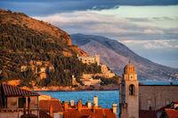 Dubrovnik Coastline at Sunset in Croatia