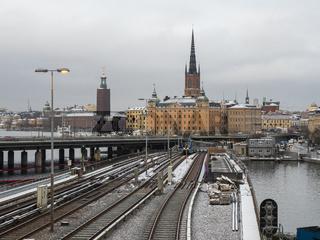 Handelsakademie, Riddarholm-Kirche und Rathaus aus Sicht von Södermalm - Stockholm