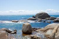 Seascape view of False Bay coastline in Cape Town.