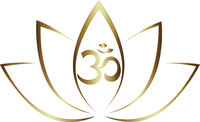 gold colored lotus flower and Om symbol