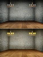 Chandelier in grunge interior | Background