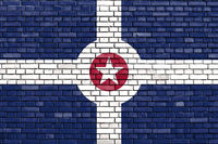 flag of Indianapolis painted on brick wall