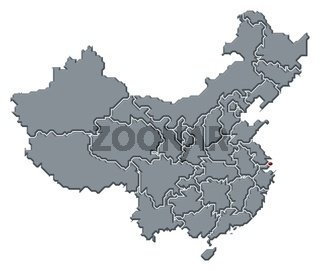 Map of China, Shanghai highlighted