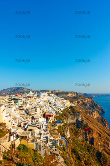Greek landscape with Fira town on the coast of Santorini