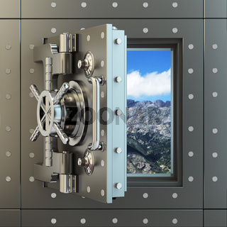 Freedom. Opening vault door and sky behind it.