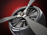 Vintage airplane propeller macro detail. 3D illustration