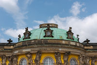 Entrance of the renaissance castle Sanssouci in Potsdam on sunny day in summer