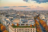 Paris France, high angle view city skyline with autumn foliage season