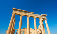 Clumns of  ancient temple in Acropolis in Athens