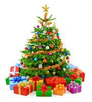 Dichter Weihnachtsbaum mit bunten Geschenken