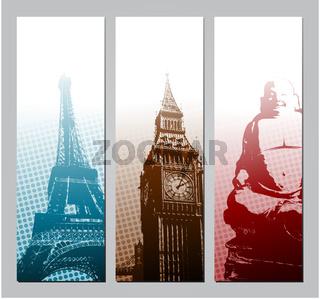 Europe travel banners illustration