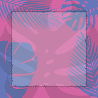 pink and blue summer background with tropical leaves