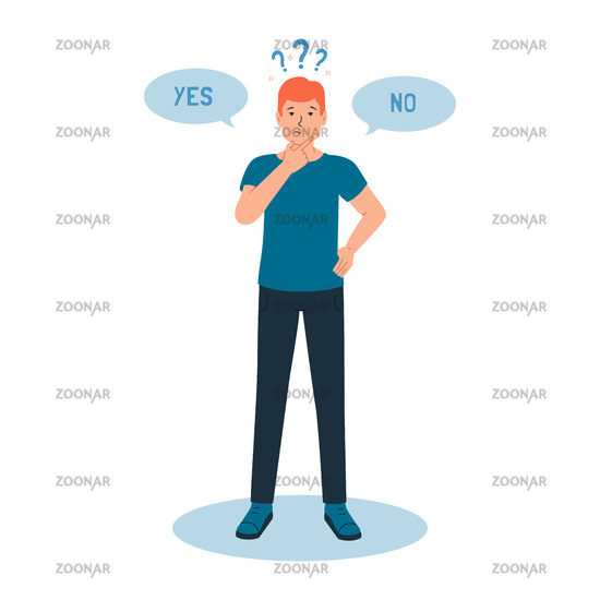 A pensive guy feels a sense of doubt, it is difficult for him to make the right choice, yes or no. The concept of cognitive dissonance. Vector illustration of character and question marks