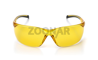 Front view of yellow polarized bicycle sunglasses