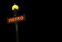 Vintage Metro Sign At Night