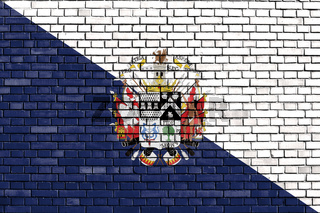 flag of Osorno, Chile painted on brick wall