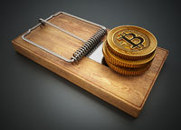 Fictitious crypto coin standing on mouse trap. 3D illustration