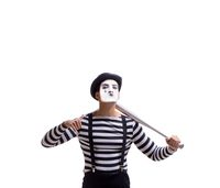 Mime with baseball bat isolated on white