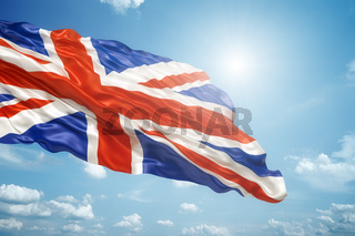 union jack in the blue sky