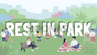 Rest in park word concepts flat color vector banner. Typography with tiny cartoon characters. Family picnic, weekend relaxation in countryside, outdoor recreation creative illustration