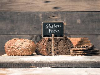 Gluten free written on a small chalkboard
