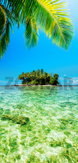 Tropical island. Panoramic vertical composition.