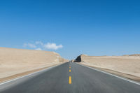 straight road through the wind erosion landform