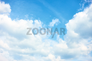 Sky with white cumulus clouds