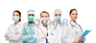 team of doctors and scientists in medical masks
