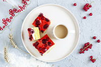 Delicious berries cake with cream filling. Healthy summer dessert.