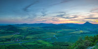 View from Lovos Hill. Sunset  in Central Bohemian Highlands, Czech Republic.