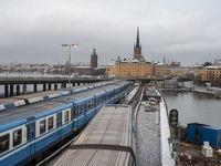 Blick nach Riddarholmen und Gamlastan mit Kommerskollegium und Riddarholmskyrk - Stockholm