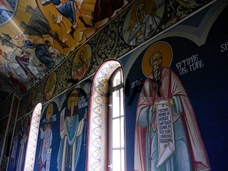 Frescoes on walls of Orlat monastery, Transylvania, Romania