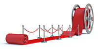 Cinema film roll and red carpet Front view 3D