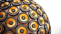 Stack of loudspeakers for arranged to form a globe. 3D illustration