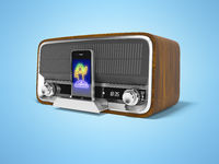 Concept classic portable speaker for listening to music from smartphone 3d render illustration on blue background with shadow