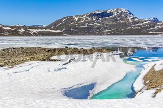 Frozen turquoise lake Vavatn panorama in summer landscape Hemsedal Norway.