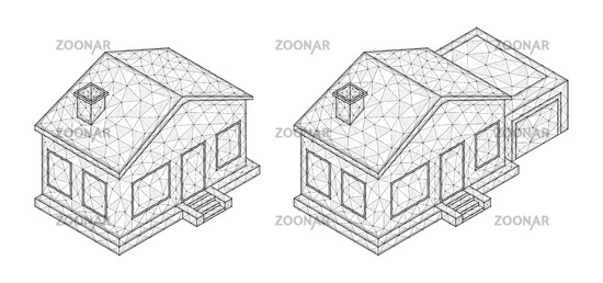 Polygonal vector illustration of an isometric houses. Real estate concept.