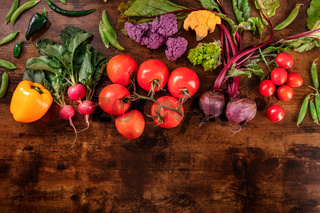 Fresh vegetables background, a flat lay with a place for text, shot from the top