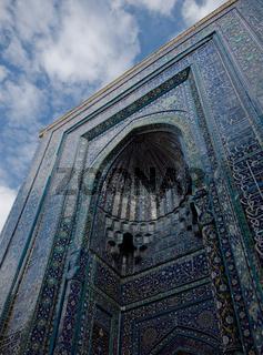 Blue tiled facades of Shahi-Zinda Necropolis, Samarkand, Uzbekis
