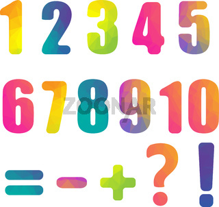 Color Numbers Isolated White Background