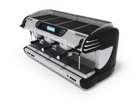 3D rendering professional coffee machine for three horns with digital display on white background with shadow