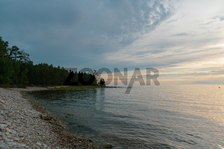Picturesque view of Lake Baikal in southern Siberia, Russia. Baikal lake summer landscape view.