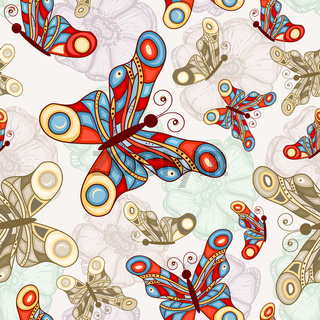 vector seamless background with abstract flowers and butterflies