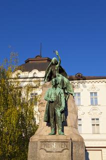 The statue of France Prešeren in Ljubljana, Slovenia