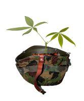 Soldatenhelm mit Tarnüberzug und Pflanze