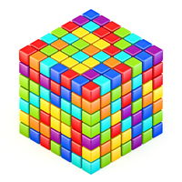 Abstract multicolored cube 3D